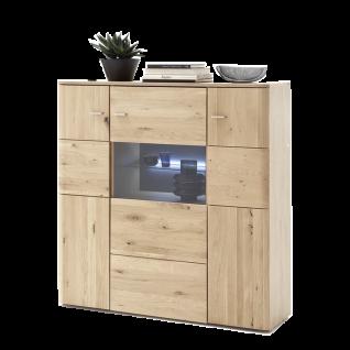 MCA Furniture Buffalo BUF52T05 Highboard für Ihr Wohnzimmer Front Balkeneiche Bianco Korpus Eiche Bianco Melamin Nachbildung