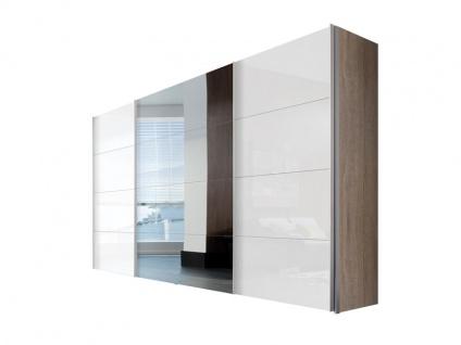 Nolte Express Möbel Four You Schwebetürenschrank Breite 350 cm Korpus in Dekor Front Lack weiß kombiniert mit Spiegel und Höhe wählbar
