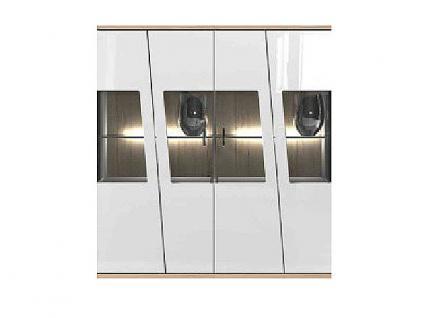 IDEAL-Möbel Ariana Highboard Type 06 Korpus weiß Melamin Front Weiß Folie Hochglanz tiefgezogen kombiniert mit Beton Optik
