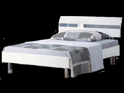 Neue Modular Primolar Livorno plus Bett bestehend aus Bettrahmen Kopfteil Desio mit Chromriffeleinsatz und Eckfüße in Chrom Liegefläche ca. 180x200 cm