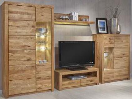 Dkk Klose Kollektion K25 Kastenmöbel Wohnkombination 4tlg. in Wildeiche Massivholz Wohnwand für Wohnzimmer in der Ausführung Wildeiche Beleuchtung und gesandstrahlte Rückwände wählbar