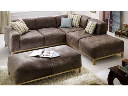 K+W Möbel Lounge 7467 Ecksofa Sofagarnitur Sofa 2, 5-Sitzer und Sofaecke Polstergarnitur Couch für Wohnzimmer Sofa in Bezug Stoff oder Leder wählbar