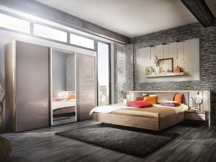 Nolte Ipanema Schlafzimmer bestehend aus Schwebetürenschrank mit Spiegel und Glas Samtbraun, Bettanlage mit Polster-Rückenlehne und Nachtkommoden