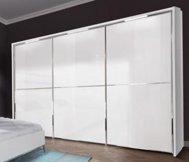 Nolte Attraction Ausführung Schwebetürenschrank 3A Kleiderschrank in Korpus Polarweiß, Front Weißglas