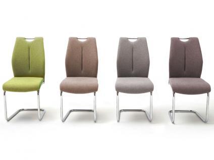 MCA furniture Schwinger mit Griffloch SILVICA B 2er-Set Bezug Front Filzoptik Masada Rücken Polyurethan Gestell Rundrohr verchromt Bezugfarbe wählbar Stuhl für Ihr Esszimmer