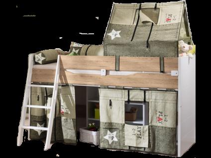 Paidi Fionn Spielbett 120 mit schräger Griffleiter 90x200 cm optional mit Spitz Zelt Motiv Canvas Style und Vorhängen