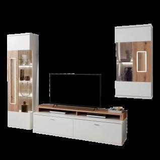 Ideal-Möbel Falan Wohnkombination 41 für Ihr Wohnzimmer moderne 4-teilige Wohnwand mit Standvitrine Lowboard Hängevitrine und Wandboard Korpus in Weiß mit Absetzungen in Eiche Artisan Folie inkl. integrierter LED-Beleuchtung in den Türen