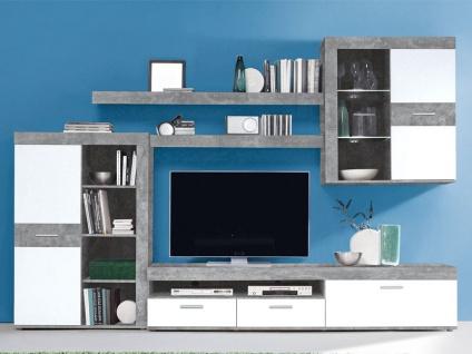 FORTE Zumba Wohnwand ZMBM01L Wohnkombination mit Highboard Lowboard Hängeschrank und zwei Wandboards ideal für Ihr Wohnzimmer Dekor wählbar