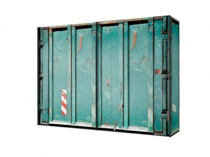 Express Möbel Cargo Schwebetürenschrank in Vintage Container Look in Grün Schrankbreite wählbar