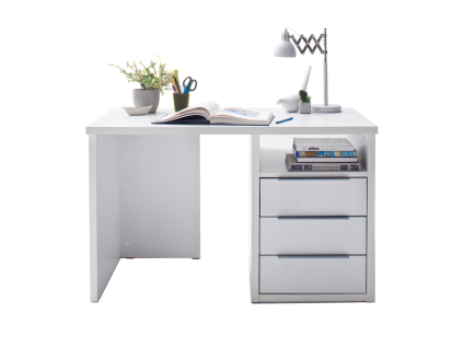 FORTE Opus Schreibtisch OPSB211R_120 in Weiß matt mit Arbeitsplatte ca. 120 x 67, 4 cm mit drei Schukästen und einem offenen Fach Arbeitstisch für Ihr Büro Arbeitszimmer oder Jugendzimmer