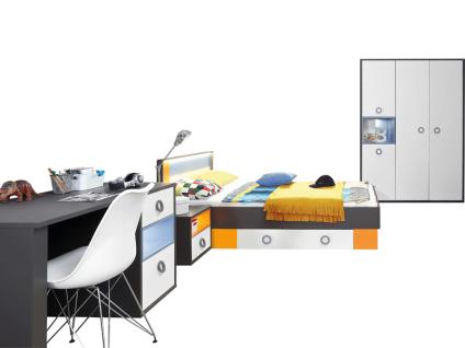 FORTE Colors Jugendzimmer 5-teilig mit Bett Liegefläche ca. 140x200cm Nachttisch Kleiderschrank und Schubladenauszug Kombination Dekor Korpus Uni Wolfram Grau kombiniert mit Orange und Blau Front Weiß MDF