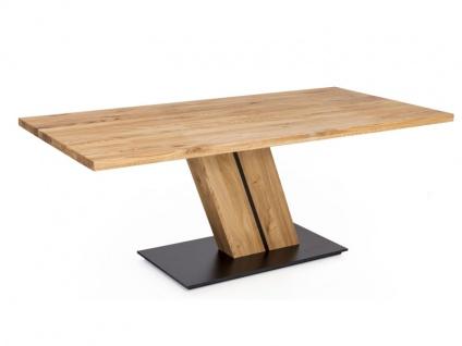 Standard Furniture Factory Säulentisch Calgary Massivholztisch in 2 Versionen Tisch für Esszimmer schwebend wirkende Bodenplatte in schwarz und silber erhältlich Gestell und Größe wählbar