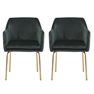 Sit Möbel SIT&CHAIRS Schalensessel im 2er-Set Bezug dunkelgrün Gestell messingfarbig