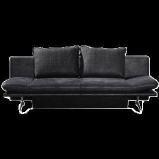 Restyl Schlafsofa Mona mit integriertem Bettkasten schwarzer Stoffbezug in Sonder-Stoffkombination mit praktischen Rasterarmteilen 2 losen Rückenkissen und edler Chromkufe