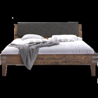 Hasena Factory-Line Bett bestehend aus Bettrahmen Loft + Case 8 Zierwinkel Kopfteil Varus inkl. Kissen Ravo Bettfüße Gola in Akazie Vintage brown Liegefläche ca. 180x200 cm optional mit Nachttisch Butch und Längstraverse