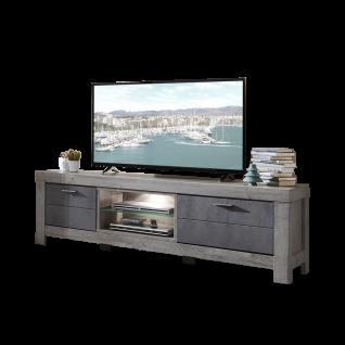 Wohn-Concept Granada Lowboard Type 32 mit Holztür Schubkasten und zwei offenen Fächer für Ihr Wohnzimmer oder Esszimmer TV-Unterteil inkl. LED-Beleuchtung Korpus Haveleiche Nachbildung Front wählbar