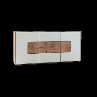 Hartmann Caya Sideboard 3-türig mit 1 Schubkasten Kerneiche Umato Massivholz gebürstet Front-Ausführung Mattglas in Weiss oder Anthrazit mit Hirnholzakzenten wählbar - Vorschau 1
