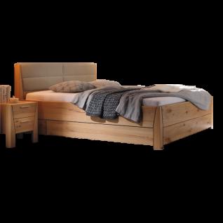 Thielemeyer Pura Kastenbett in Super-Komfort-Höhe Ausführung Naturbuche mit Kunstlederkopfteil taupe optional mit Bettkasten und Hochkonsolen Liegefläche wählbar