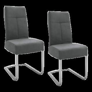 2x MCA furniture Schwingstuhl Talena Gestell Flachrohr Edelstahl gebürstet Rückengriff und Bezugfarbe wählbar Stuhl für Ihr Esszimmer