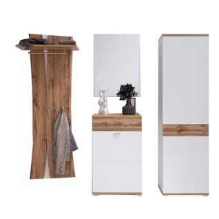 MCA furniture Garderobe Nia Garderobenkombination 1 vierteilig in weiß mit Absetzung Wotan Eiche Nachbildung mit Paneel Kommode Spiegel und Garderobenschrank für Ihre Diele