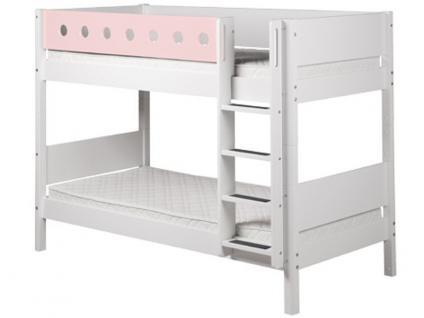 Etagenbett 90x200 cm Kinderbett Flexa White massiv mit senkrechter Leiter Lattenrost und farbiger Absturzsicherung Pfosten aus Birke Flexa4Dreams