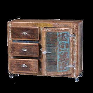Sit Möbel FRIDGE Kommode mit 3 Schubladen dunkelbraun im Shabby Chic Altholz bunt lackiert