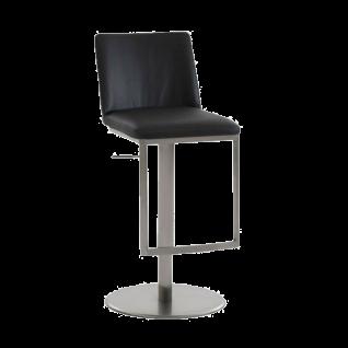 Niehoff Barstuhl BS01 mit Lift-Funktion und Gestell Edelstahl gebürstet mit wählbarem Bezug ideal für Ihre Küche oder Ihren Partyraum