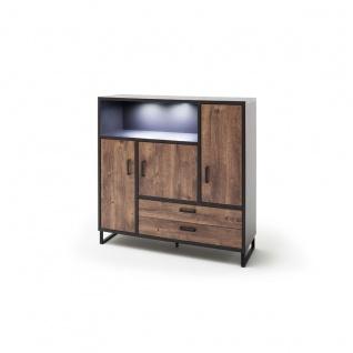 MCA furniture Highboard Halifax Art.Nr. HAL1WT05 Front Eiche Barrique Melamin Nachbildung Korpus cosmos grey Nachbildung Kufengestell