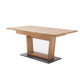 MCA Furniture Portland Esstisch POR17T60 mit Synchronauszug für Ihr Esszimmer oder Küche Säulentisch ca. 180/280 x 100 cm in Asteiche bianco mit Fußplatte in Anthrazit