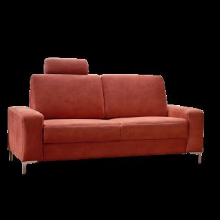 Dietsch Einzelsofa Family Relax FR7 in überzeugend rotem Stoffbezug mit individuell einsteckbarer Kopfstütze auf einfachen Metallfüßen