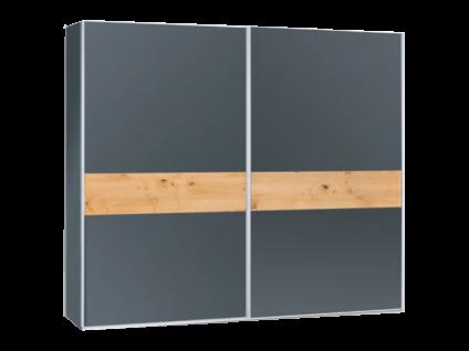Neue Modular Venezia 2-türiger Schwebetürenschrank Korpus und Front in RAL-Farbe Basaltgrau mit Wildeichen-Einlage furniert schrankmittig optional mit Dämpfer