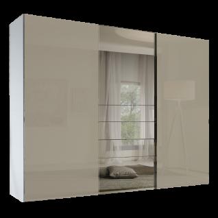 Staud Möbel Media Schwebetürenschrank 3-türig mit 5 Schubkästen Korpus in Dekor Front Sandglas mit Grauspiegel Größe wählbar