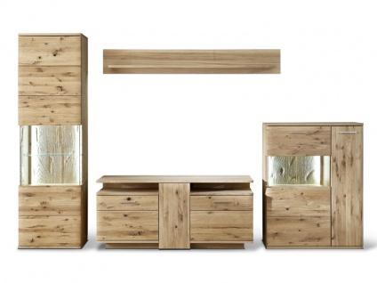 MCA Furniture Wohnkombination 1 Santori 4-teilig Vitrine, Highboard, Wandpaneel und TV Element für Ihr Wohnzimmer