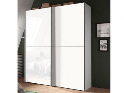 Nolte Express Möbel One 310 Schwebetürenschrank 2-türig Teilfront mit Glasauflage Weiß und Tür in Dekor wie Korpus und mittiger Zierleiste , Schrankbreite und -höhe wählbar