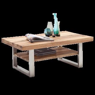 MCA Furniture Couchtisch Castello 58764 Tischplatte und Ablage in Wildeiche Massivholz lackiert Kufengestell Edelstahloptik gebürstet