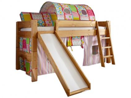 Infantil Tobykids massives Halbhochbett mit einer Liegefläche von ca. 90 x 200 cm inkl. Rollrost, Vorhang Spielhöhle, Tunnel und Rutsche