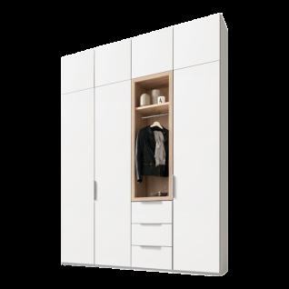 Nolte Möbel Horizont 100 Drehtürenschrank mit Garderoben-Funktionselement in Polarweiß mit Absetzung Sonoma Eiche Nachbildung und Auftsatzschränken