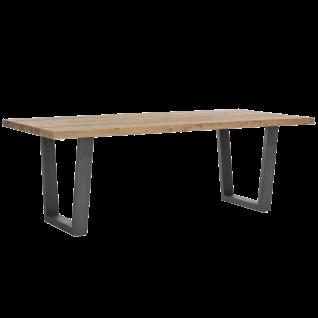 Habufa Charleston Esstisch 36190 Tischplatte aus Kikar teilmassiv Breite ca. 190 cm Kufengestell Metall anthrazit