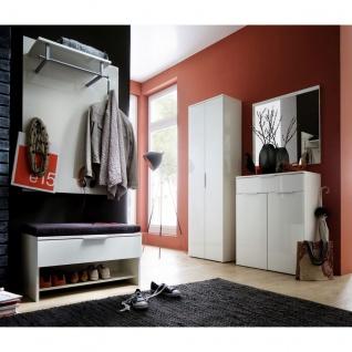 Wittenbreder Stelvio Garderobenkombination Nr. 07 komplette Garderobe für Ihren Flur und Eingangsbereich 7-teilige Vorschlagskombination im Dekor WEiß Hochglanz und Weiß Glas - Vorschau 2