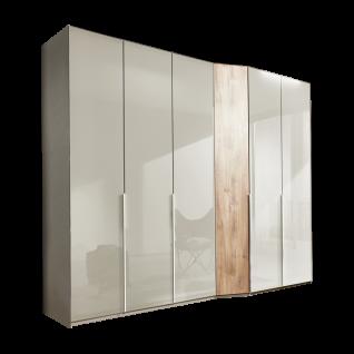 Wiemann Cayenne V.i.P. Drehtürenschrank 6-türig mit Tiefenversatz Korpus in Kieselgrau-Dekor und Front in Glas Kieselgrau Schrägelement in Balkeneiche-Nachbildung in Breite 283 cm