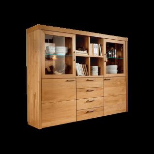 Wöstmann Highboard 4190 Oleo Massivholz für Wohnzimmer Ausführung und Beleuchtung wählbar