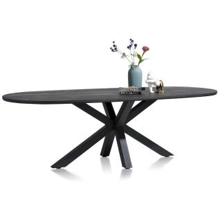 Habufa Moreni Esstisch oval Tischplatte furniert in Eiche Onyx lackiert und Sterngestell aus Metall schwarz Größe wählbar