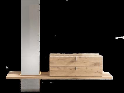 Thielemeyer Cubo Garderobe mit Spiegel links in Front- und Korpusausführung Wildeiche massiv mit 3 Ablageböden und 2 Schubkästen 1 Kleiderstange und 2 Kleiderhaken