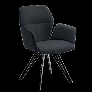 Niehoff Armlehnenstuhl Merlot 1132 Designerstuhl Bezug graphit Stativgestell aus Eisen schwarz Esszimmerstuhl