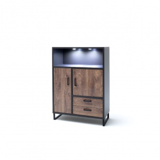 MCA furniture Highboard Halifax Art.Nr. HAL1WT20 Front Eiche Barrique Melamin Nachbildung Korpus cosmos grey Nachbildung Kufengestell Metall anthrazit