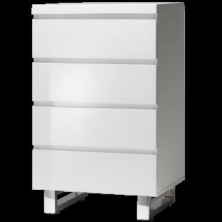 MCA furniture Kommode Sydney Art.Nr. 48905W1 Front und Korpus Weiß MDF Hochglanz lackiert Füße Metall verchromt 4 Schubkästen mit Grifffräsung