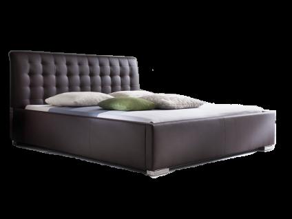 Meise Möbel ISA-COMFORT Polsterbett mit Kunstlederbezug in braun weiß schwarz oder muddy mit gestepptem Kopfteil und Metallfüßen Liegefläche wählbar
