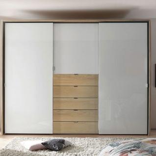 Staud Möbel Media Multi Schwebetürenschrank 3-türig mit 5 Schubkästen Korpus und Schubkasten in Dekor Türen in Alpinweißglas optional mit Passepartout - Vorschau 2
