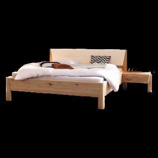 Thielemeyer Pura Komfort-Liegenbett mit Kunstlederfüllung weiß im Kopfteil mit 2 Anstellkonsolen Ausführung Naturbuche optional mit Vollauszug
