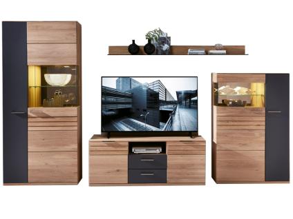 Wohn-Concept Achat Wohnkombination in Wildeiche teilmassiv mit viel Stauraum Art Nr 45 06 HH 82 inkl. LED-Beleuchtung ideal für Ihr Wohnzimmer